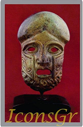 Griego antiguo Bronce Museo Estatua réplica de teatro máscara de tragedia (1439)