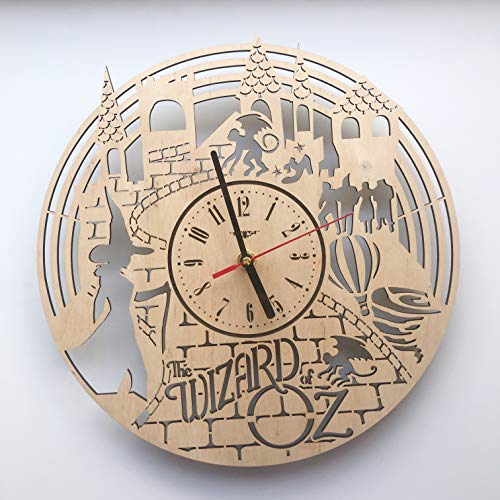 (7ArtsStudio The Wizard of Oz Wall Clock Made of Wood - Perfect and Beautifully Cut - Decorate Your Home with Modern Art - Unique Gift for Him and Her - Size 12 Inches)