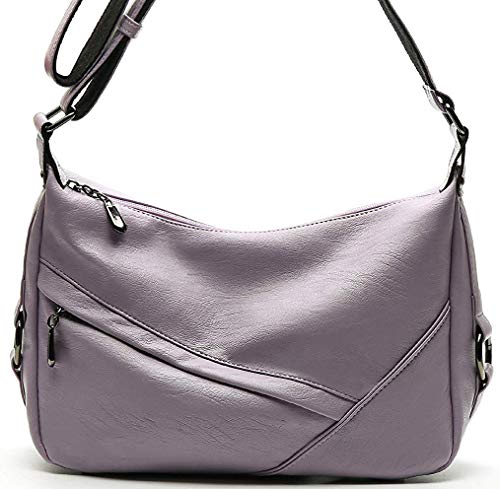 Molodo Accent Retro Sling Leather Corssbody Bag For Women Medium Shoulder Purse Hobo Handbag(Lightpurple)