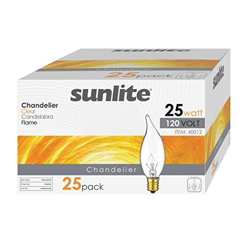 (Sunlite 25CFC/25/25PK Flame Tip 25W Incandescent Petite Chandelier Light Bulb, Candelabra (E12) Base, Crystal Clear Bulb (25 Pack))