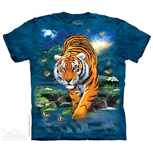 The Mountain 3D Tiger Adult T-Shirt, Blue, Small