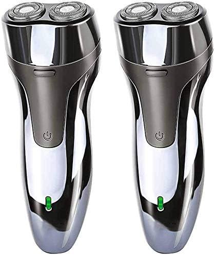 2 Paquetes De Afeitar Eléctrica Para Los Hombres - Profesional Barbero Hombres - USB Inalámbrico Recargable Rotatorio Eléctrico De La Máquina De Afeitar,Plata