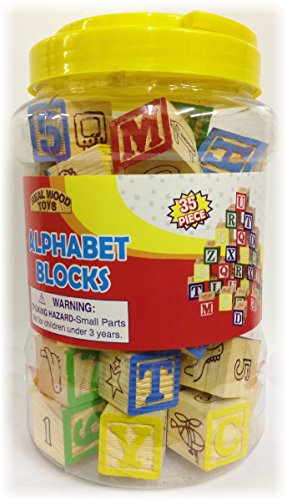 35 Piece ABC Stack N' Build Wood Blocks in a Bucket Set (Alphabet Stack)