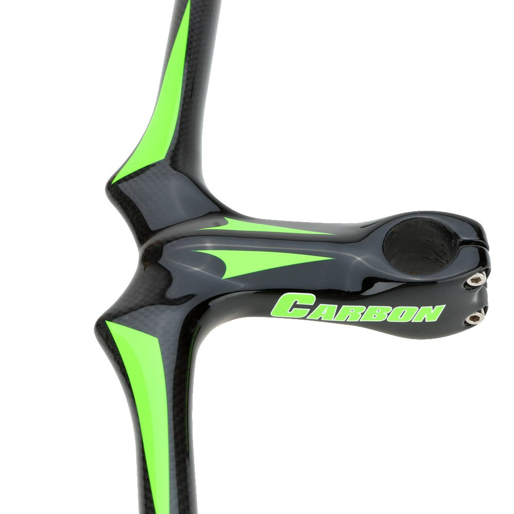 New Road Bike Flat Handlebar 620 110mm Integrative Full Carbon Fiber Mountain Bike Handlebar with Stem (Green) by Taya (Image #3)