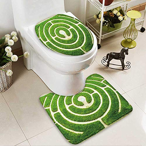 (aolankaili 2 Piece Shower Mat Set Chartres Circular Labyrinth in a Garden Custom Made Rug Set)