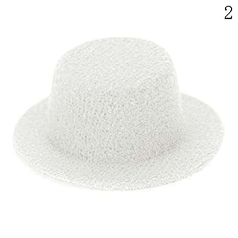 Amazon.com  iraintech White Clothing Bowler Hat 1 12 Scale Handmade Doll  House Miniature Clothing Décor Accessory  Toys   Games d3877c87088d