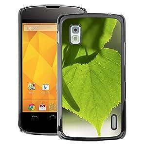 A-type Arte & diseño plástico duro Fundas Cover Cubre Hard Case Cover para LG Nexus 4 E960 (Tree Green Nature Sun Leaf)