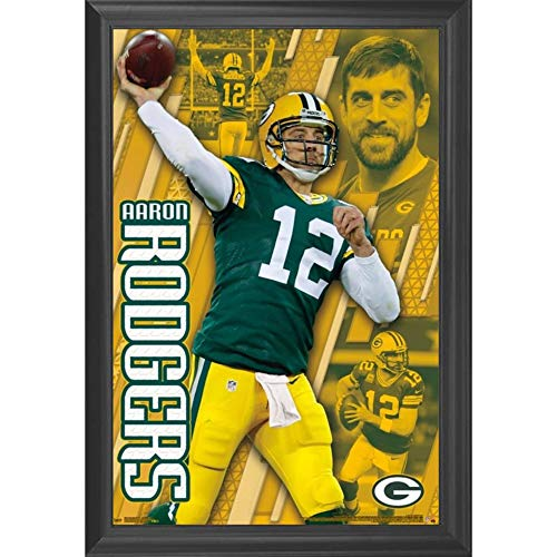 Aaron Rogers & The Green Bay Packers Wall Art Decor Framed Print | 24x36 Premium (Canvas/Painting Like) Textured Poster | NFL Football Team Cheesehead Fan | Memorabilia Gifts for Guys & Girls Bedroom