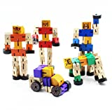 NEWQZ.COM Kids Toys Wooden Robots Cool Wood Transformers Fun and Creative Educational Toys for Girls and Boys New Version Brain Teaser Puzzle (Random Colors)
