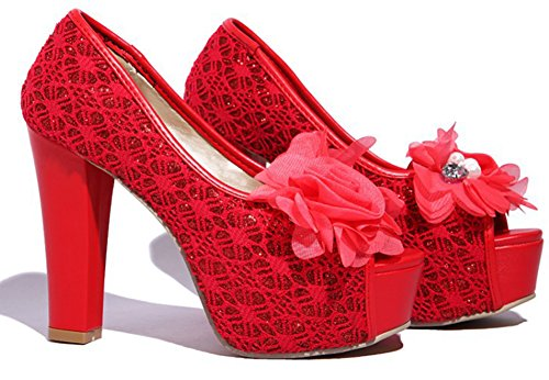 Aisun Womens Peep Toe Pumps With Flower - Discoteca Con Piattaforma A Tacco Alto - Slip On Chunky Shoes Red