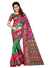 Shonaya. Women`S Bhagalpuri Silk Printed Bandhani Saree Unstitched Blouse Piece
