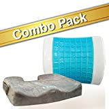 Bael Wellness seat cushion for sciatica, coccyx, tailbone, back pain & lumbar support gel enhanced cushion combo pack