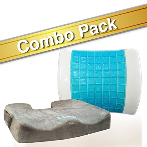 Bael Wellness seat cushion for sciatica, coccyx, tailbone, back pain & lumbar support gel enhanced cushion combo pack by Bael Wellness (Image #5)