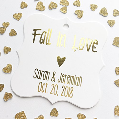 Fall In Love Autumn Theme Color Foil Wedding/Event/Celebration Favor Hang Tags (Fall Theme Personalized Mint)