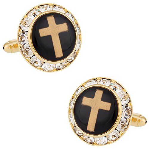 Cuff-Daddy Christian Cross Crystal Cufflinks with Presentation Box Crystal Cuff Cross