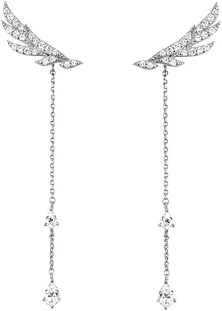 Hanie mujeres pendientes largo borlas de ala de Ángel Colgante, 925Plata de Ley Blanco Lágrima Circonita Swarovski Elementos Cristal puede llevar como Stud/larga pendientes de gota