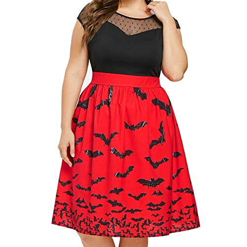 NRUTUP Women Halloween Party Bat Print Retro Lace Sleeveless Vintage Swing Dresses Party Cocktail Dress(Red,XL)