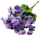 super1798 Artificial Campanula Flower Leaf Wedding Party Decor(1Bouquet/60 Heads) - Purple