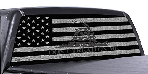 FGD Brand Truck Rear Window Dont Tread On Me Gadsden American Flag Perforated Vinyl Decal