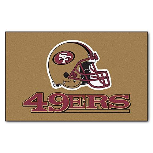 5'x8' NFL San Francisco 49ers Mat Sports Football Area Rug Team Logo Printed Large Mat Floor Carpet Bedroom Living Room Bathroom Home Decor Athletic Game Fans Gift Nonslip Backing Soft Nylon, Gold Red ()