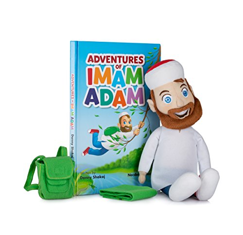 Adventures of Imam Adam Plush Doll with Hardcover Book, Removable Bag and Prayer Rug