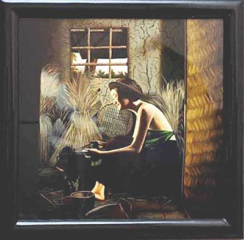 """Vietnamese Lacquer Paintings - 28"""" x 28"""" Girl Cooking - LPB207"""