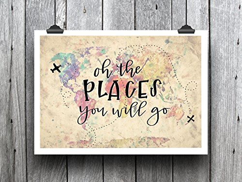Handlettered Colorful Map Graphic Design Print 8.5 x11 Artwo