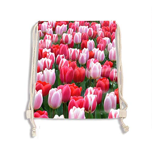 - Fashion Outdoor Sports Casual Tulips House Blossoms Drawstring Bag Lightweight Backpack for Women Men
