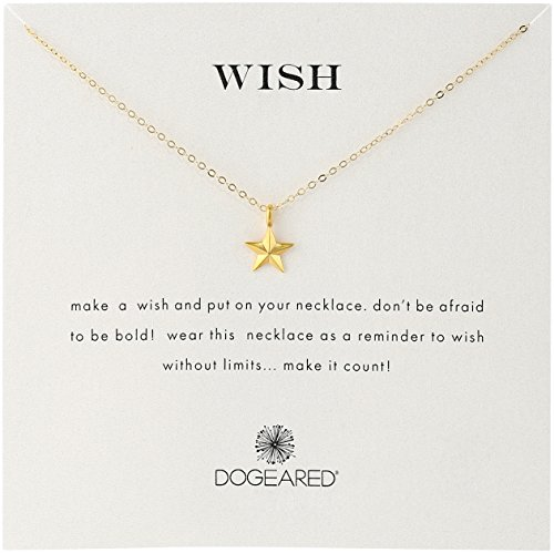 Dogeared 'Wish' Nautical Star Charm Gold Plated Sterling Silver Chain (Gold Plated Star Charms)