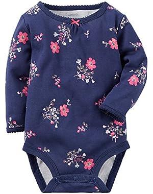 Girl L/s Floral Bodysuit; Navy; 3 Months