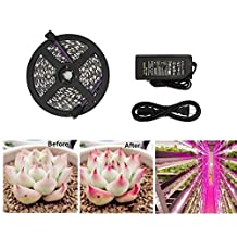 Vemico Led Grow Light Strip Full Spectrum 16.4ft/5m Red Blue 5:1 5050 with Power Adapter Grow Light for Indoor Plants Hydroponic Greenhouse