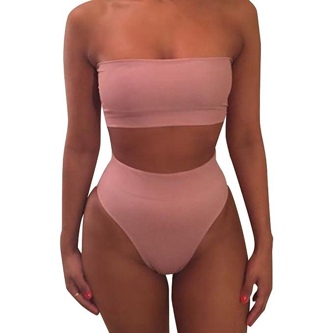 b9e01eb714a5 Mujeres Bikini Talle Alto Trajes de Baño Bandeau Bañadores Dos ...