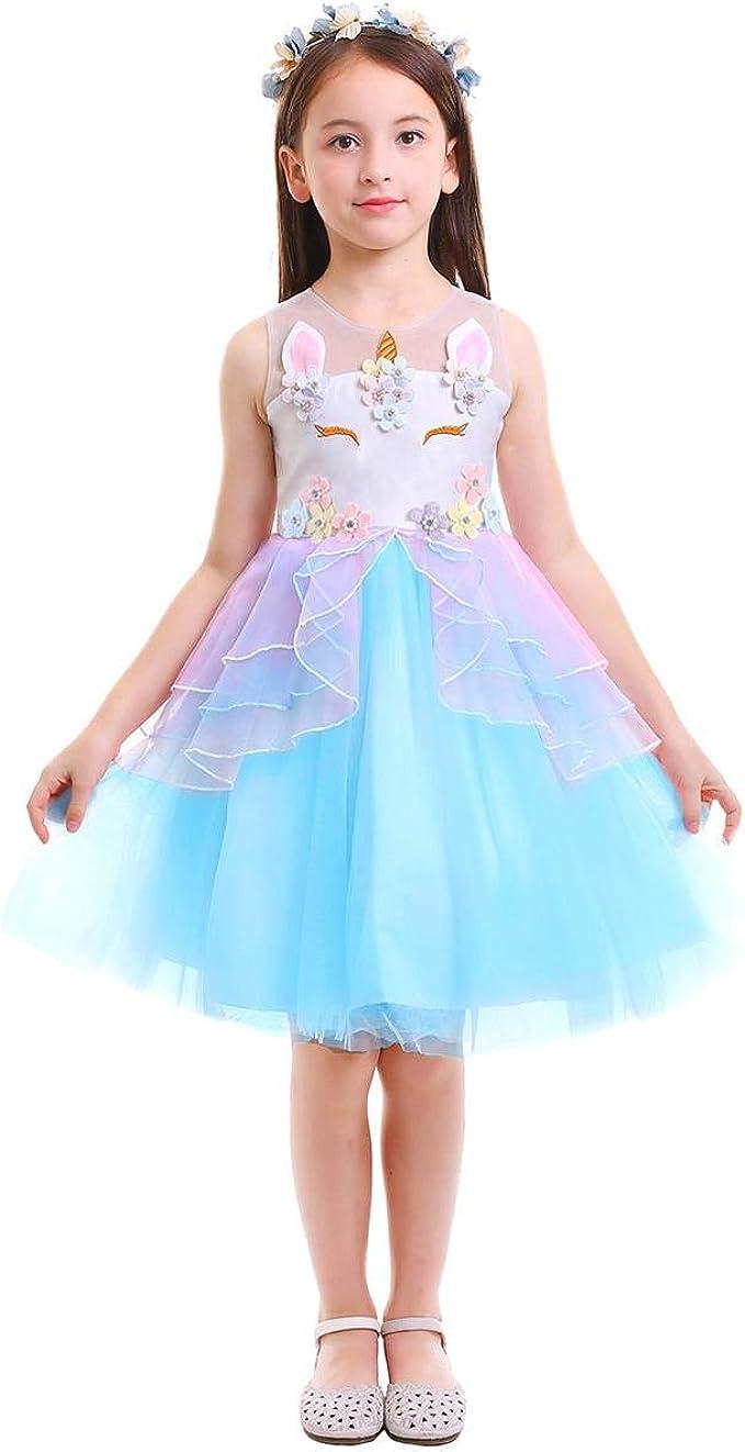 OBEEII - Vestido de Unicornio sin Mangas para niñas, diseño de ...