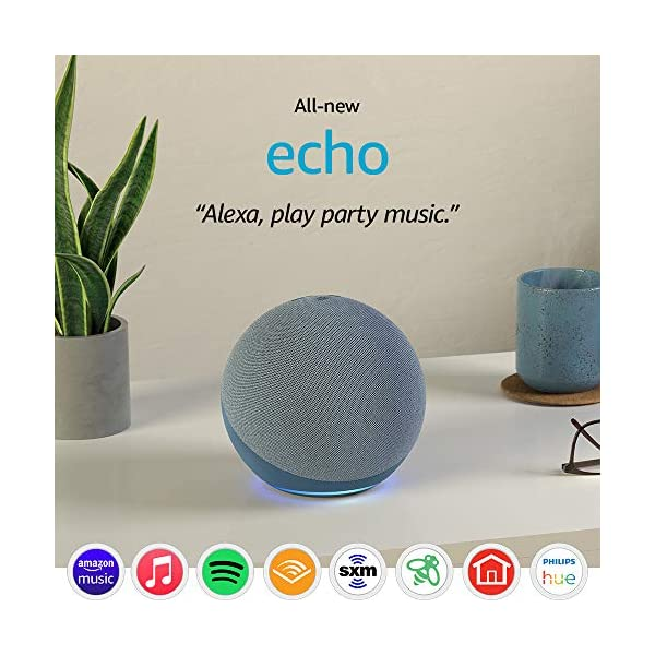 All-new Echo (4th Gen) | With premium sound, smart home hub, and Alexa | Twilight Blue 1