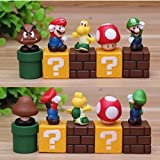 Super Mario Brothers Birthay Cake Topper, Super Mario Bros Action Figures, Mini Super Mario Bros Figures Bundle including Mario, Luigi, Mushroom, Goomba, Koopa Troopa, 2