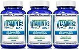 Vitamin K2 MK7 - MenaQ7 and Organic Coconut Oil for Superior Absorption - 120 Soy-Free Non-GMO Vegetarian Liquid Caps 100 mcg. (3 Pack)