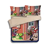California King Vs King Vs Queen Plants VS. Zombies Bedding Sets - Sport Do Best Gifts for Game Funs 100% Polyester Skinclose Flat Sheet 4PC Full