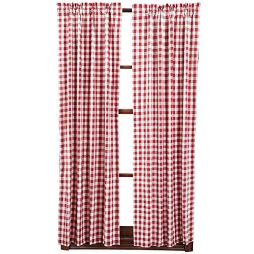 VHC Brands Classic Country Farmhouse Window Curtains-Buffalo Check Red Short Panel Pair
