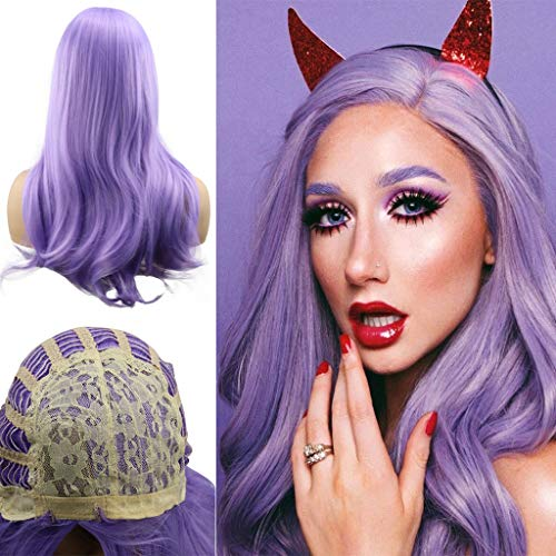 RNTOP Natural Wigs,Women Lady Girl Synthetic Long Light Wavy Hair Pink Adult Kids Cosplay Costume Wig Ponytail Halloween Party Makeup Wigs 24inch (Purple) ()