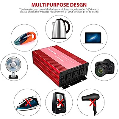 Buywhat 1000W Power Inverter 12V DC to 110V AC Car Converter 3 AC Outlets for Home RV: Car Electronics