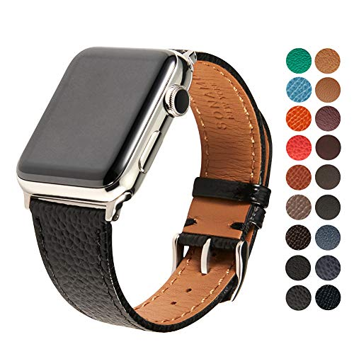 Italian Leather Cell Phone Strap - Compatible Apple Watch Band, Premium Italian Cavier Leather Strap with Stainless Steel Buckle for All 42mm Apple Watch Models by SONAMU New York, Black