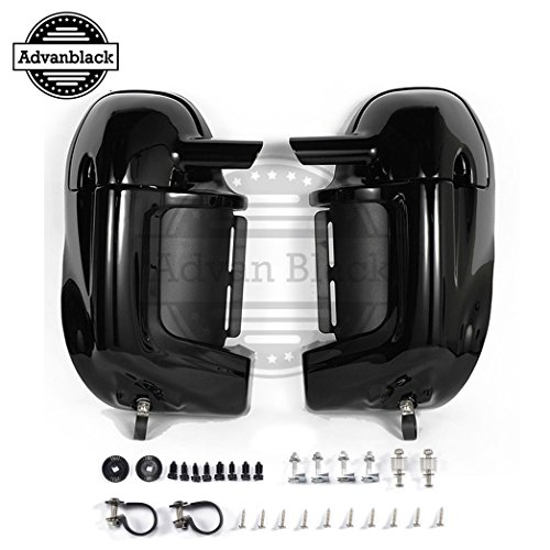 Vivid/Glossy Black Pre-Rushmore Lower Vented Fairings Kit Body Kits Glove Box Fit for Harley Touring Road King FLHR Street Glide ()