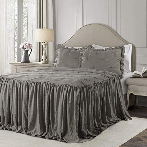 Lush Decor Lush Décor Ravello Pintuck Ruffle Skirt Bedspread Dark Gray Shabby Chic Farmhouse Style Lightweight 3 Piece Set King, (Renewed) (Bedspread Skirt With)