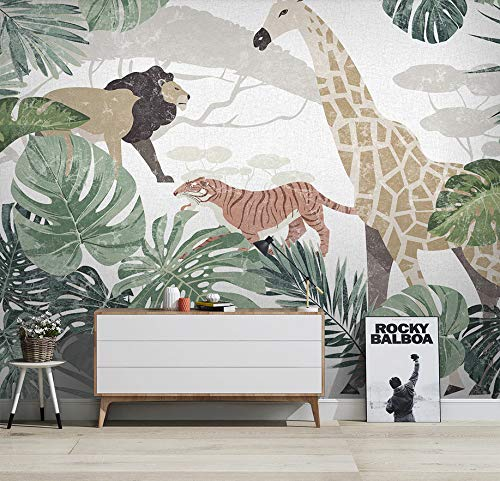 (360X280CM0, Old Newspaper 3D Wallpaper - Nordic Tropical Plant Animal Giraffe - Wallpaper Poster Wall Decor by ZLJTYN
