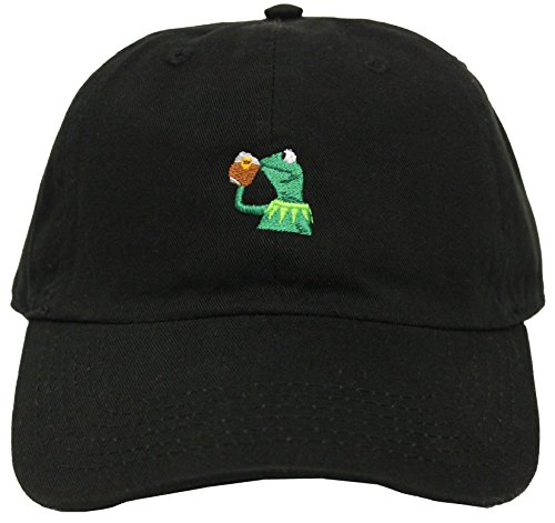 "fec8b46a8e8 Kermit The Frog ""Sipping Tea"" Adjustable Strapback Cap"