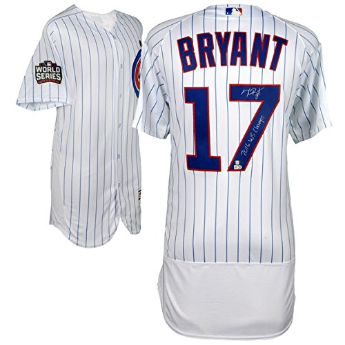KRIS BRYANT Chicago Cubs 2016 MLB World Series Champions Autographed Majestic White Authentic World Series Jersey with 2016 WS Champs Inscription FANATICS ()