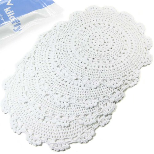 (kilofly Handmade Crochet Round Cotton Lace Table Placemats Doilies Value Pack [Set of 4], Medallion, 13.3 x 13.0 inch, White )