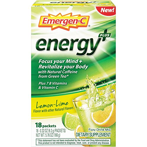 Emergen-C Energy+ Dietary Supplement Drink Mix with Caffeine, 0.33 Ounce Packets (Lemon-Lime Flavor, 18 Count)