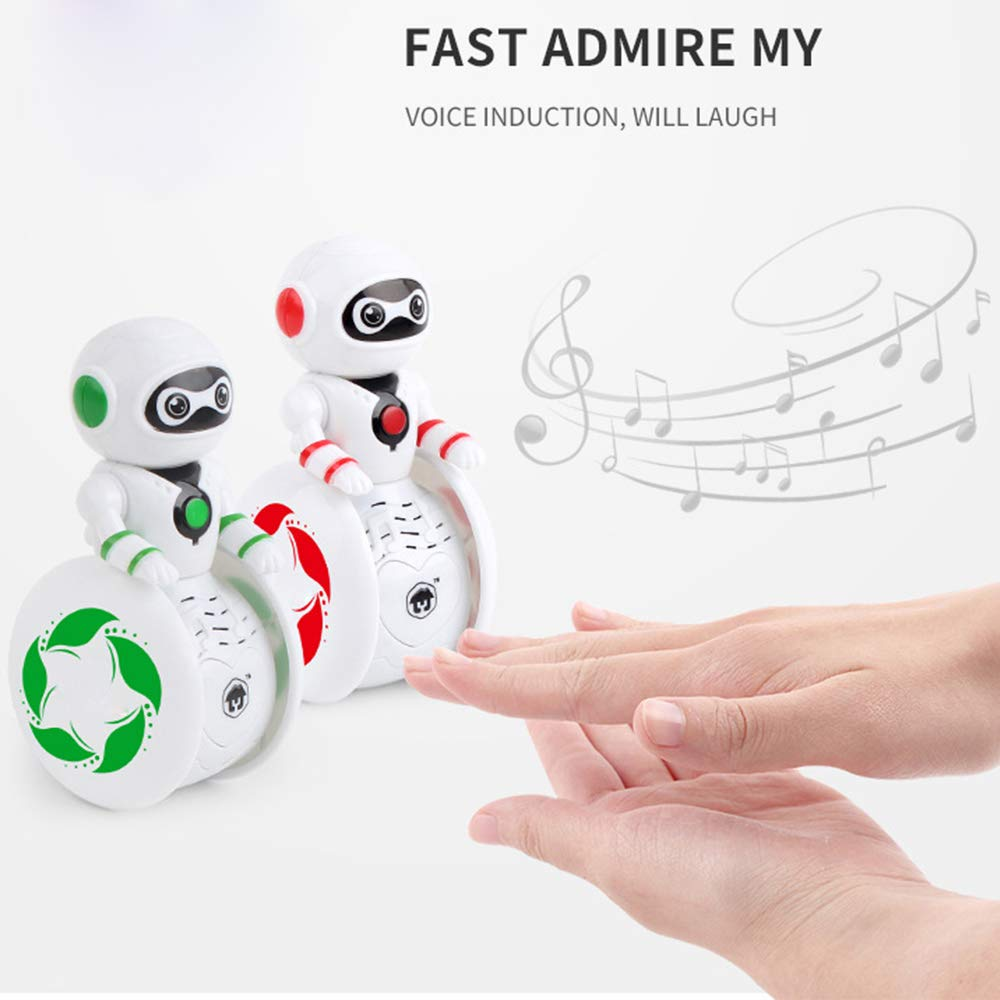 Infant Mini Tumbler Doll Roly-Poly Baby Toys Cute Rattles Ring Bell Newborns Early Educational Toy for Baby Boys and Girls Xmas Birthday Gifts Stocking Fillers Colorful Robot-Green