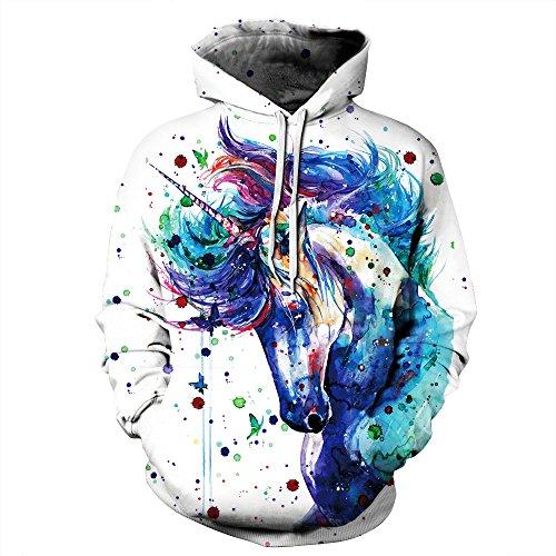 NEWCOSPLAY Unisex Athletic Hooded Sweatshirts 3D Digital Printed Hoodies (L/XL, Blue Unicorn)